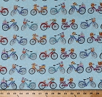 Cotton Bikes Bicycles Flowers Gifts Baskets Polka Dots Transportation Blue Enjoy the Journey Cotton Fabric Print by the Yard (6844-11)