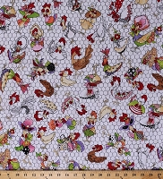 Cotton Fancy Chickens Roosters Poultry Chicken Wire Eggs Farm Animals Birds Coopers White Cotton Fabric Print (692-224)