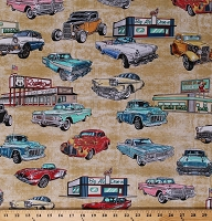 Cotton Classic Cars Vintage Vehicles Retro Corvettes Thunderbirds Historic Route 66 Signs Diners Roadtrip Transportation USA Motorin' Tan Cotton Fabric Print by the Yard (1649-26352-S)