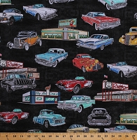 Cotton Classic Cars Vintage Vehicles Retro Corvettes Thunderbirds Historic Route 66 Signs Diners Roadtrip Transportation USA Motorin' Black Cotton Fabric Print by the Yard (1649-26352-S)