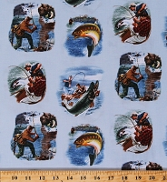 Cotton Fisherman Fishing Scenes on Blue Fish Bass Fishing Boats Sports Afield Cotton Fabric Print by the Yard (8404BLUE)