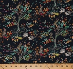 Cotton Hedgehogs Cute Animals on Navy Blue Rabbits Bunnies Chipmunks Birds Trees Flowers Floral Wildlife Nature Enchanted Forest Autumn Fall Kids Cotton Fabric Print by the Yard (43498-2)