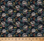 Cotton Hedgehogs Allover Cute Hedgehog Hedgies on Navy Blue Mushrooms Fungi Flowers Floral Animals Nature Enchanted Forest Kids Cotton Fabric Print by the Yard (43499-2)