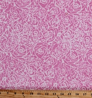Cotton Batik Roses and Thorns Flowers Floral Pink White Valentine's Day Cotton Fabric Print by the Yard (80107-21)