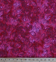 Cotton Batik Roses and Thorns Flowers Floral on Red Pink Valentine's Day Cotton Fabric Print by the Yard (80103-25)