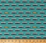Cotton Vans Cars Vehicles Summer Vacation Camping Surfboards Surfing Retro-Look Offshore 2 Wagon Teal Transportation Cotton Fabric Print by the Yard (C7983-Teal)