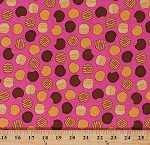Cotton Girl Scout Cookies Thin Mints Samoas Tagalongs Trefoil Do-Si-Dos Girl Scouts of America GSUSA Scouting Food Snacks Sweets Chocolate Polka Dots Pink Cotton Fabric Print by the Yard (C6772-PINK)