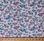 Cotton Hoffman Challenge 2018 Digital Print Diamonds Gems Gemstones Precious Stones Jewelry Jewellery Jewelers Multi-Colored Jewels on White Shine On! Pastel Cotton Fabric Print by the Yard (Q4430-135-PASTEL)