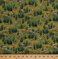 Cotton Rocky Meadow Pasture Rocks Stones Pine Trees Nature Deer Mountain Landscape Cotton Fabric Print by the Yard (1649-24793-G)