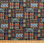 Cotton Downton Abbey Egyptian Theme Motifs Symbols Lotus Blossoms Cartouche Blue Green Orange Gold Metallic on Charcoal Cotton Fabric Print by the Yard (7620-MK)