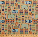 Cotton Downton Abbey Egyptian Theme Motifs Symbols Lotus Blossoms Cartouche Blue Green Orange Gold Metallic on Beige Cotton Fabric Print by the Yard (7620-MLN)