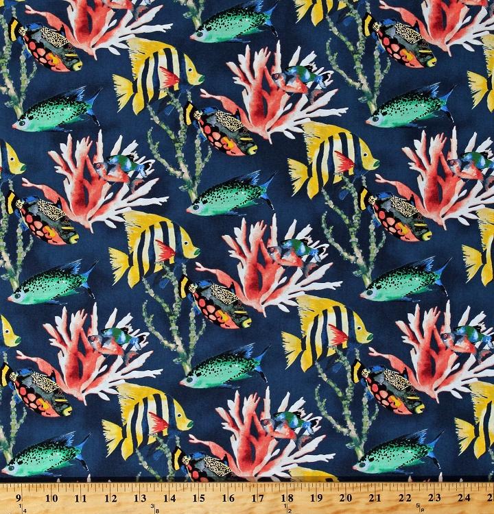 Dolphins Aquatic Nautical Aqua Sea Ocean Fish Cotton Fabric Print BTY D671.07