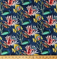 Cotton Tropical Fish Fishes Ocean Sea Blue Coral Reef Plants Nautical Animal Kingdom Cotton Fabric Print by the Yard (42666-2)