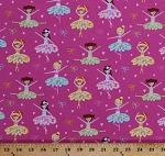 Cotton Ballerina Ballet Bows Ballerinas Dance Kids Girls Pink Cotton Fabric Print by the Yard (C6950-PINK)