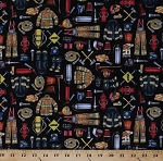 Cotton Firefighters Firefighter Firefighting Gear Equipment Fire Department Firemen 5 Alarm Black Cotton Fabric Print by the Yard (1649-26294-J)