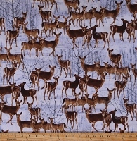 Cotton Deer Whitetail Woodland Animals Snow Winter Wildlife Nature Northwoods Hunting The Great North Wilderness Cotton Fabric Print by the Yard (05036-11)