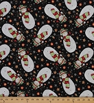 Cotton Stay Warm Toss Snowman Snowmen Snowflakes Snowing Stars Christmas Ornaments Winter Holiday Cotton Fabric Print by the Yard (15362-black)