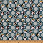 Cotton Jolly Penguin and Friends Penguins Hats Scarves Winter Snowflakes Circles Cotton Fabric Print by the Yard (10042-55)