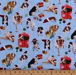 Cotton Christmas Dogs Puppy Puppies Presents Gifts Ornaments Pets Animals Holiday Friends Blue Cotton Fabric Print by the Yard (4201-Blue)