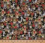 Cotton Christmas Cats Kittens Holiday Ribbons Bells Flowers Poinsettias Gold Metallic Animals on Green Cotton Fabric Print by the Yard (ACCM-12747-223-HOLIDAY)