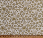 Cotton Gold Snowflakes on White Holiday Christmas A Festive Season Metallic Shimmer Glitter Cotton Fabric Print by the Yard (2650M-07)