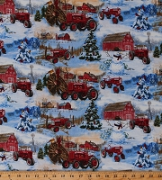 Cotton Farmall Tractors Snowman Scenic Allover Winter Christmas Trees Barns International Harvesters Farmers Farming Cotton Fabric Print by the Yard (10182)