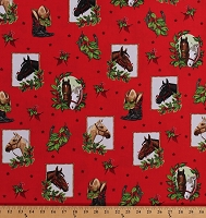 Cotton Christmas Horses Horseshoes Cowboy Boots Stars Western Cowgirl Holly Jolly Christmas 5 Red Cotton Fabric Print by the Yard (AMK-15808-3RED)