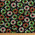 Cotton Christmas Wreaths Holiday Decorations Stars Green Red White on Black Festive Cotton Fabric Print by the Yard (ACK-13574-223HOLIDAY)
