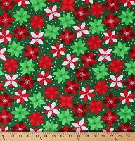 Cotton Poinsettias Winter Holiday Flowers Red White Floral on Green Retro Christmas Cotton Fabric Print by the Yard (ACK-13577-223HOLIDAY)