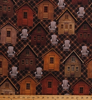 Cotton Lodge Life Cabins Northwoods Camping Chairs Cabin Life Dark Walnut Brown Cotton Fabric Print by the Yard (08973-78)