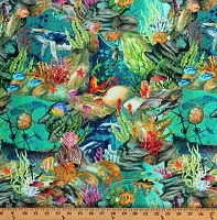 Cotton Coral Reef Whales Fish Underwater Scene Octopus Shipwreck Jellyfish Dolphin Aquatic Animals Nautical Digital Calypso Teal Cotton Fabric Print by the Yard (1CAL 2)
