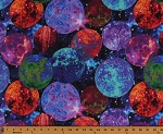 Cotton Galaxy Planets Burning Suns Outer Space Stars Astronomy Multi-Color Blast Digital Cotton Fabric Print by the Yard (9214-99)