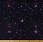 Cotton Night Sky Outer Space Stars Planets Astronomy Purple Galaxy Blast Digital Cotton Fabric Print by the Yard (9215-99)