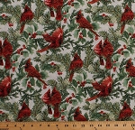Cotton Cardinals Christmas Birds Holly Leaves Berries Evergreen Branches Gold Metallic Shimmer on White A Festive Season Holiday Cotton Fabric Print by the Yard (2645M-07)