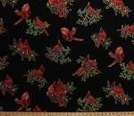 Cotton Cardinals Birds Winter Christmas Holly Berries Leaves Branches Gold Metallic Shimmer A Festive Season Holiday Cotton Fabric Print by the Yard (2644M-12)