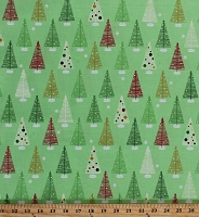 Cotton Christmas Trees Pines Conifers Evergreens Snowflakes Snow Winter Holidays Festive Swell Noel Green Cotton Fabric Print by the Yard (ack-15815-223-holiday)