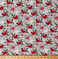 Cotton Cardinals Winter Birds Holly Leaves Berries Snowflakes on Gray Swedish Xmas Christmas Holiday Cotton Fabric Print by the Yard (22293-92LTGREY)