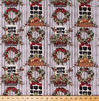 Cotton Christmas Wreaths Windows Decorations Birds Cardinals Winter Holiday Welcome Window Gray Cotton Fabric Print by the Yard (46529-6510715)