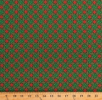 Cotton Christmas Green Red Snowflake Tiles Poinsettias Home For the Holiday Cotton Fabric Print by the Yard (1649-25900-G)