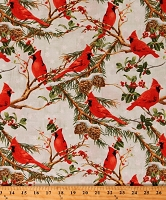 Cotton Cardinals Birds Pine Branches Pinecones Snowflakes Winter Christmas Holiday The Cardinal Rule Cotton Fabric Print by the Yard (1077-89150-737)