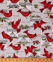 Cotton Holiday Cardinals Birds Cages Holly Leaves Berries Christmas White Cotton Fabric Print by the Yard (PC6347-HOLL-D)