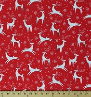 Cotton Reindeer Snowflakes Snow Winter Animals on Red Holiday Retro Christmas Cotton Fabric Print by the Yard (ACK-13576-223HOLIDAY)