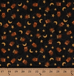 Cotton Owls Birds Stars Crescent Moons Circles Black Night Sky Halloween Scaredy Cats Animals Kids Cotton Fabric Print by the Yard (1862-67511-925)