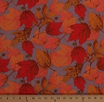 Cotton Fall Leaves Bright Autumn Colors Red Orange Brown Oak Maple Leaf Foliage Acorns on Taupe Thanksgiving Autumnal Nature Cotton Fabric Print by Yard (ZD-55762-002)