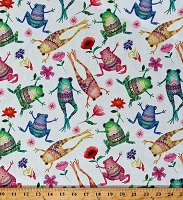 Cotton Happy Frogs Flowers Whimsical Designs Amphibians Animals on White One of a Kind Cotton Fabric Print by the Yard (50913-X)