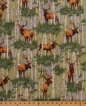 Cotton The Elk Gathering Animals WIldlife Cotton Fabric Print by the Yard (2683t-6n)