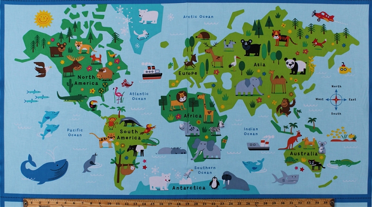 235 X 44 Panel Animals World Map Continents Countries Oceans Wildlife Kids Childrens Geography Cotton Fabric FUN C6164 BLUE