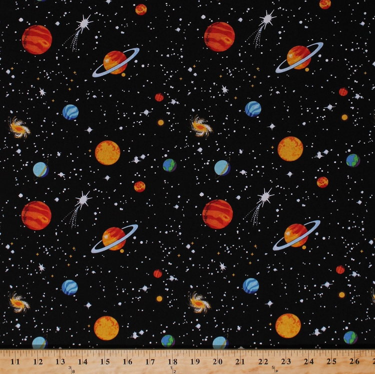 Cotton eight planets stars outer space earth jupiter mars for Outer space fabric by the yard