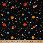 Cotton Eight Planets Stars Outer Space Earth Jupiter Mars Galaxy Spacewalk Glow-In-The-Dark Astronomy Cotton Fabric Print by the Yard (9031G-099-BLACK)