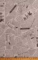 Cotton Newspapers Newsprint Clippings Articles Poetry Quotes Phrases Words Wonder Story Gray Cotton Fabric Print by the Yard (36530B-5)